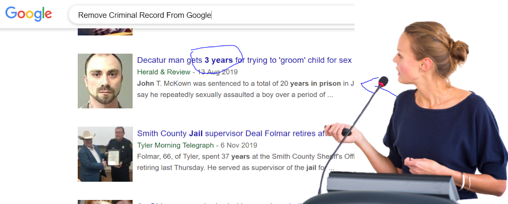 Remove criminal convictions from Google